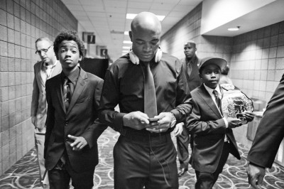 Leaving Arena in Vegas after fight with his children